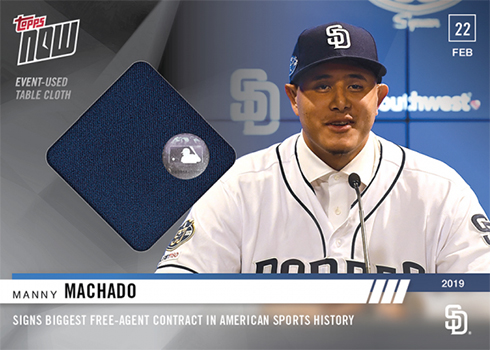 2019 Topps Now Spring Training Baseball ST-1A Manny Machado Table Cloth Relic