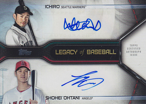 2019 Topps Series 1 Baseball Legacies of Baseball Dual Autographs Ichiro Shohei Ohtani
