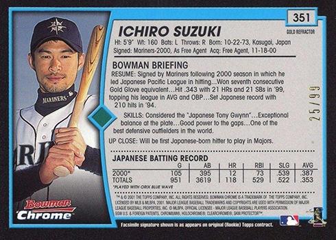2001 Bowman Chrome Gold Refractors Ichiro Suzuki English Reverse