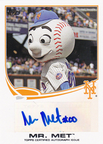 2013 Topps Opening Day Mascot Autographs Mr Met