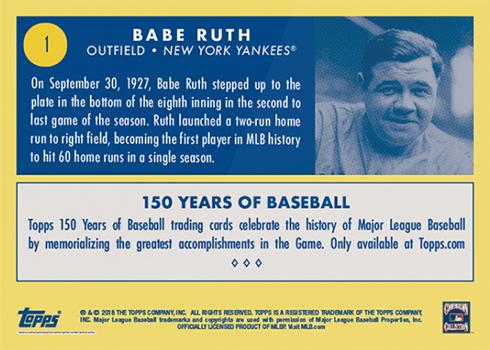 2019 Topps 150 Years of Baseball 1 Babe Ruth - Reverse
