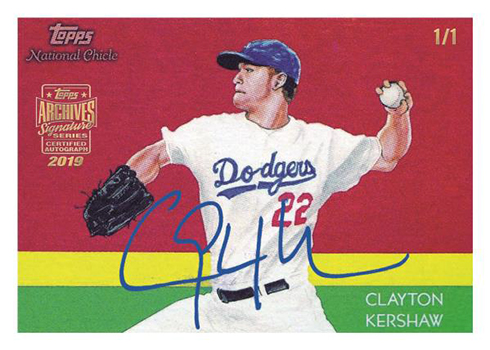 2019 Topps Archives Signature Series Baseball Kershaw