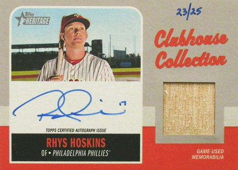 2019 Topps Heritage Baseball Clubhouse Collection Autograph Rhys Hoskins
