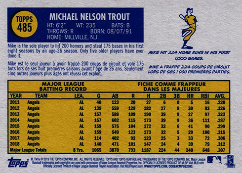 2019 Topps Heritage Baseball French Text 485 Mike Trout