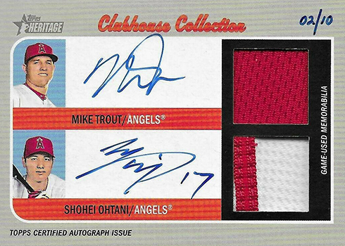 2019 Topps Heritage Real One Dual Autographs Mike Trout Shohei Ohtani