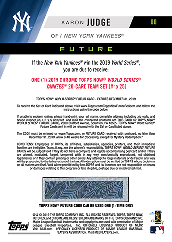 2019 Topps Now Future World Series Champions Card Back