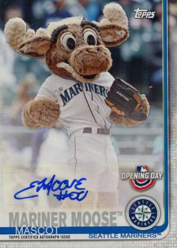 2019 Topps Opening Day Baseball Mascot Autographs Mariner Moose