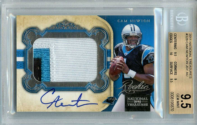 2011 Panini National Treasures Cam Newton Autograph Patch RC BGS 9.5