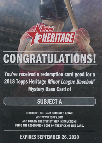 2018 Topps Heritage Minors Base Card Mystery Redemption A