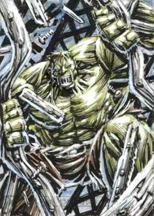 2018 Upper Deck Marvel Masterpieces Hulk Sketch Card Anthony Tan