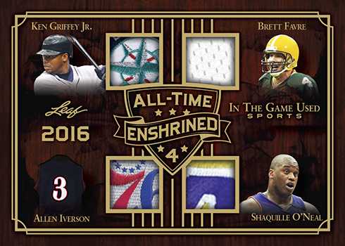 2019 Leaf In the Game Used Sports All Time Enshrined Quad