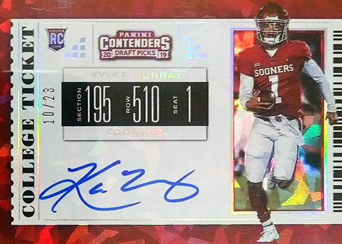 2019 Panini Contenders Draft Cracked Ice Kyler Murray Autograph