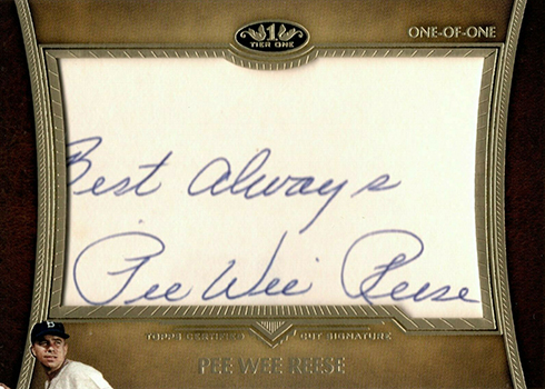 2019 Topps Tier One Baseball Cut Signatures Pee Wee Reese