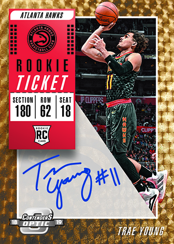 2018-19 Panini Contenders Optic Basketball Rookie Ticket Autographs Gold Vinyl