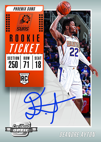 2018-19 Panini Contenders Optic Basketball Rookie Ticket Autographs