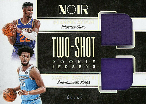 2018-19 Panini Noir Basketball Two-Shot Jersey Rookie Dual Deandre Ayton Marvin Bagley III