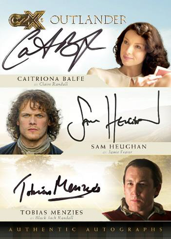 2019 Cryptozoic Outlander CZX Triple Autograph Balfe Heughan Menzies
