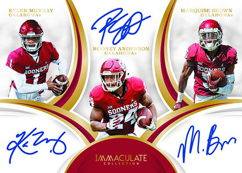 2019 Panini Immaculate Collection Collegiate Football Immaculate Trios Autographs