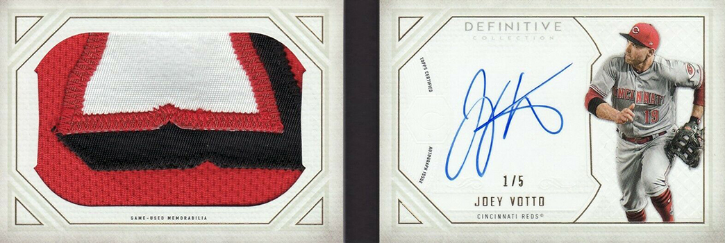 2019 Topps Definitive Collection Autograph Patch Book Card Joey Votto