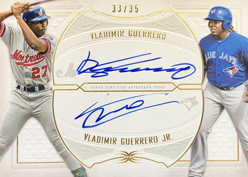 2019 Topps Definitive Collection Baseball Dual Autographs Vladimir Guerrero Vladimir Guerrero Jr