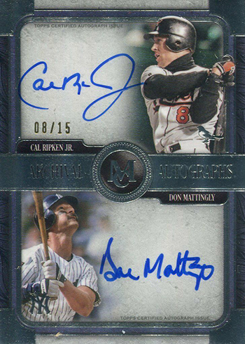 2019 Topps Museum Collection Baesball Dual Archival Autographs Don Mattingly Cal Ripken