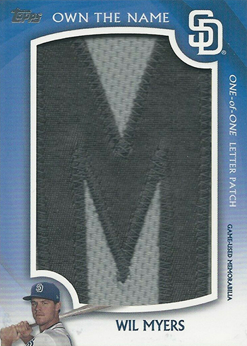 2019 Topps Series 2 Baseball Own the Name Letter Patch Wil Myers M