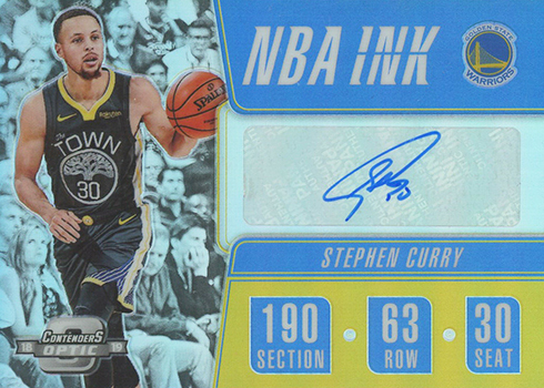 2018-19 Panini Contenders Optic Basketball NBA Ink Stephen Curry