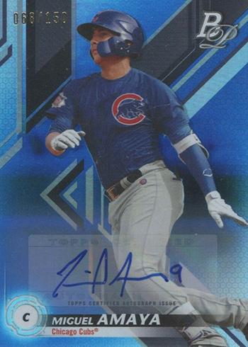 2019 Bowman Platinum Baseball Top Prospects Autographs Blue Miguel Amaya