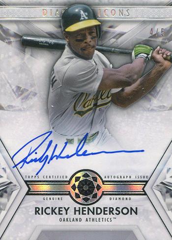 2019 Topps Diamond Icons Baseball Autographed Diamond Relics Rickey Henderson