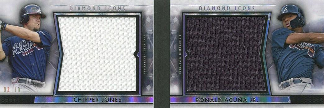2019 Topps Diamond Icons Baseball Dual Player Dual Relic Book Chipper Jones Ronald Acuna