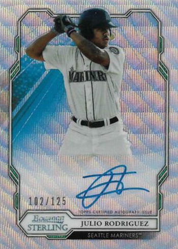 2019 Bowman Sterling Baseball Prospect Autographs Wave Refractor Julio Rodriguez