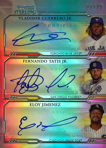 2019 Bowman Sterling Baesball Triple Autographs Guerrero Tatis Jimenez
