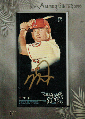 2019 Topps Allen & Ginter X Baseball Framed Mini Autograph Gold Mike Trout