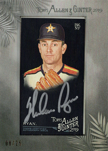 2019 Topps Allen & Ginter X Baseball Framed Mini Autograph Nolan Ryan