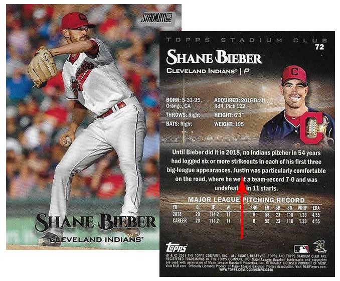 Shane Bieber And Justin Bieber Bond Over Topps Baseball Card