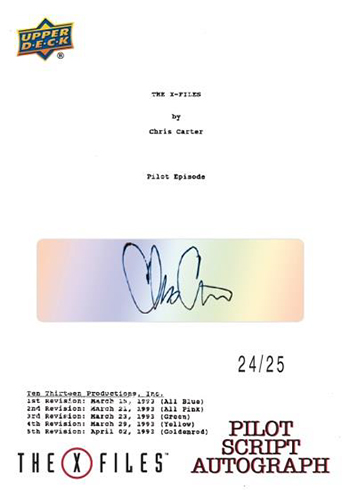 2019 Upper Deck X-Files Monster of the Week Pilot Script Autograph