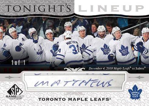 2019-20 SP Game Used Hockey Tonights Lineup