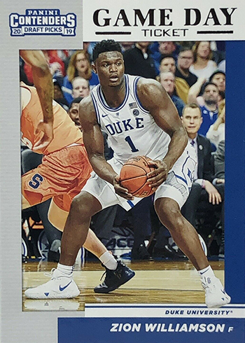 2019 Panini Contenders Draft Picks Basketball Game Day Zion Williamson