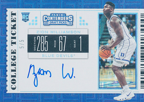 2019 Panini Contenders Draft Picks Zion Williamson RPS Autograph Building Blocks