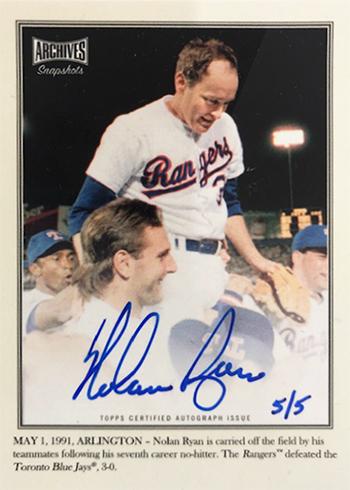 2019 Topps Archives Snapshots Baseball Nolan Ryan Autograph