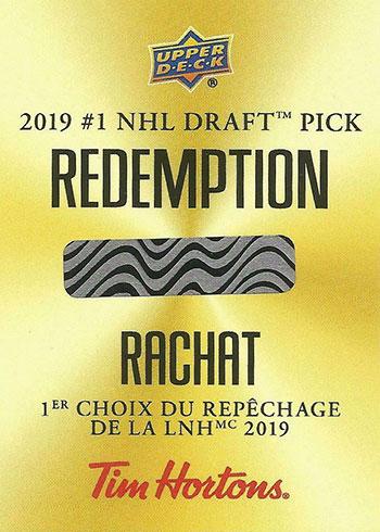 2019-20 Upper Deck Tim Hortons #1 Draft Pick Redemption