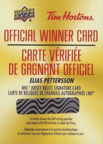 2019-20 Upper Deck Tim Hortons Hockey Elias Pettersson Autograph Jersey Redemption