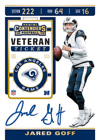 2019 Panini Contenders Football Veteran Ticket Autographs