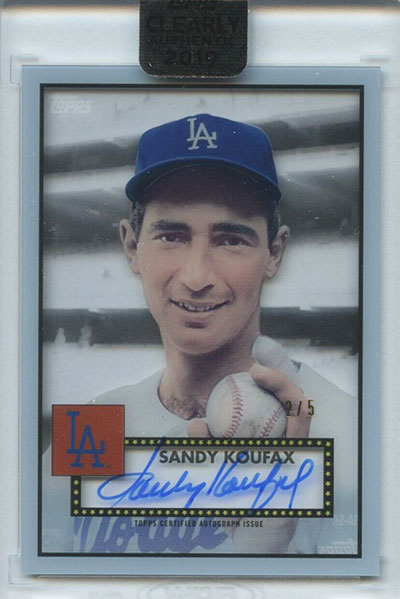 2019 Topps Clearly Authentic Baseball 1952 Topps Reimagining Autographs Sandy Koufax