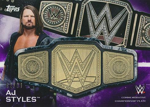 2019 Topps WWE Smackdown Commemorative Belt AJ Styles Purple