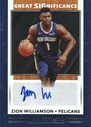 2019-20 Hoops Great SIGnificance Zion Williamson Autograph