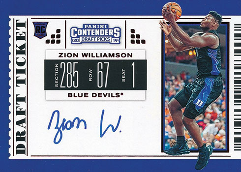 2019 Panini Contenders Draft Picks Zion Williamson Rookie Card