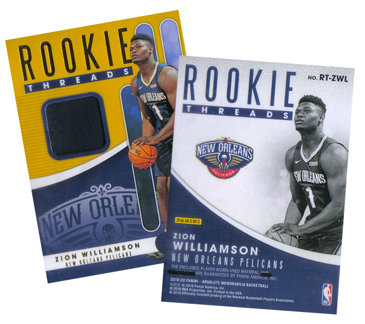 2019-20 Absolute Memorabilia Rookie Threads Zion Williamson