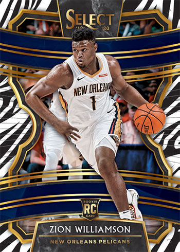 2019-20 Panini Select Basketball Concourse Zebra Prizm Zion Williamson