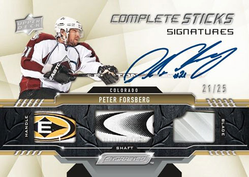 2019-20 Upper Deck Engrained Hockey Complete Sticks Signatures